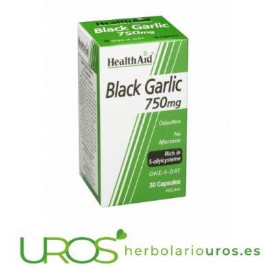Ajo negro en perlas de Health Aid para tu salud - suplemento natural de cápsulas de ajo negro Health Aid Ajo negro puro en perlas de lab. naturales Health Aid Ajo negro en perlas de 750 mg - lab. Health Aid