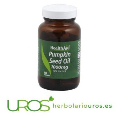 Remedio de aceite de calabaza en perlas de lab. Health Aid Ayuda natural para tu próstata: Aceite de calabaza de Health Aid Remedio natural para tu sistema urinario: aceite de calabaza pura en perlas de HealthAid