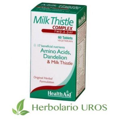 Cardo Mariano Complex en envase de 60 cápsulas de HealthAid - un remedio hepático con propiedades regenerativas.