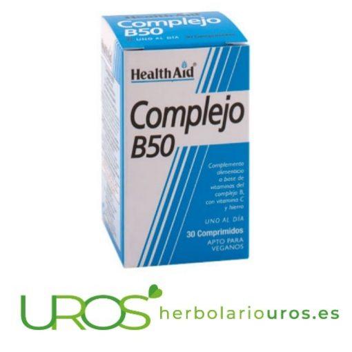 Complejo B50 HealthAid - Vitaminas del grupo B: B50 complex Complejo B50 - vitaminas del grupo B de lab. Health Aid Un suplemento natural pensado para mejorar el funcionamiento de tu sistema nervioso