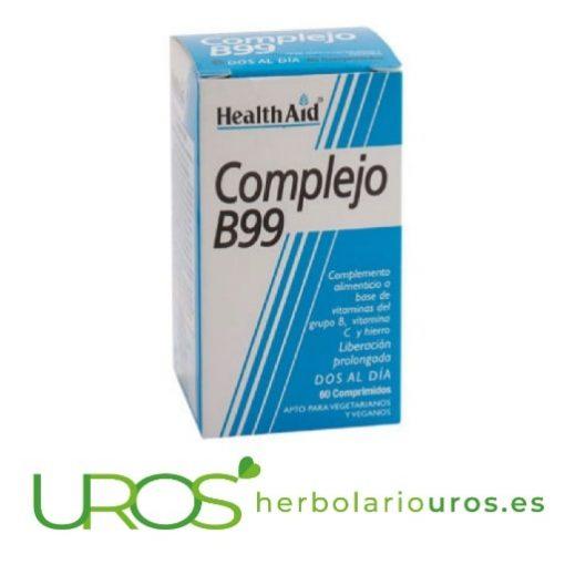 B complex en cápsulas: Complejo B99 de laboratorios Health Aid - vitaminas del grupo B en cápsulas Complejo B99 (B Complex) de HealthAid - cápsulas de vitamina B Un suplemento natural de lab. Health Aid para tu sistema nervioso: grupo de vitaminas B