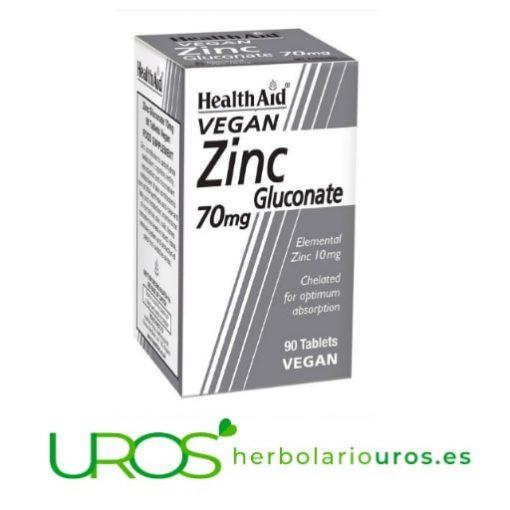 Gluconato de Zinc de Health Aid - Zinc Vegano de Health Aid Zinc en cápsulas de Health Aid - dosis elevadas para tus defensas Suplemento natural a base de Zinc - para tu sistema inmune, tu digestión y tu tus articulaciones flexibles - con buena biodisponibilidad
