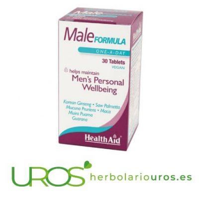 Male formula de HealthAid: Suplemento natural para hombres Male formula de HealthAid - ayuda para la salud masculina Un suplemento para una buena salud y energía específico para hombres