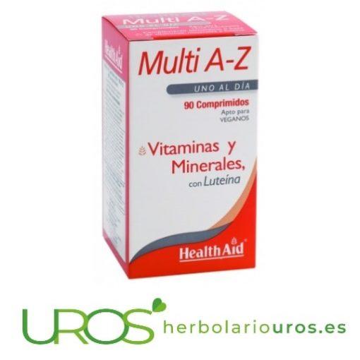 Multi A-Z Health Aid tu multivitamínico completo Multi A-Z HealthAid: Tu multivitamínico completo - para tu aporte de energía y para mejorar las defensas naturales Vitaminas y minerales todo en uno - para mejorar tu salud con una pastilla diaria - todos los vitaminas y minerales que tu organismo necesita