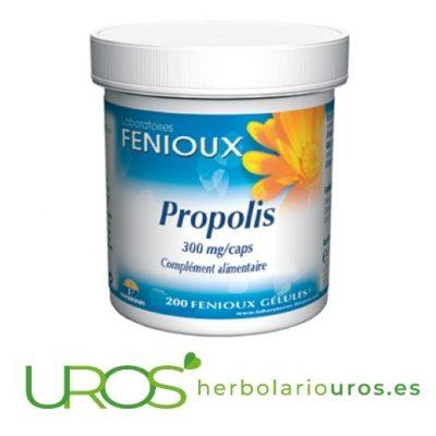 Propoleo en cápsulas - defensas naturales y sistema inmune Propoleo puro para tu garganta, resfriados y sistema inmune Propolis en cápsulas de lab. naturales Fenioux es una ayuda natural y efectiva para tus defensas y tu sistema inmunitario