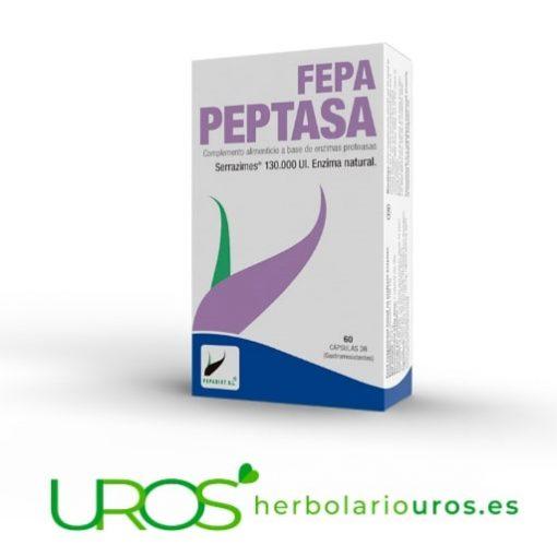 Serrapeptasa en dosis altas y sus propiedades: Fepa Peptasa Fepa-Peptasa: 130.000 UI Serrapeptasa en cápsula para aliviar tus dolores Serrapeptasa tu ayuda para la reparación tisular - reparación natural de los tejidos y un antiinflamatorio natural - 130.000 UI de Serrapeptasa por cápsula de Fepa-Peptasa