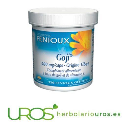 Goji de laboratorios naturales Fenioux - envase 120 cápsulas Goji de laboratorios naturales Fenioux - bayas de Goyi en cápsulas Lycium chinense - Goji (goyi) puro en cápsulas de laboratorios naturales Fenioux