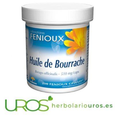 Aceite de Borraja Fenioux, Omega 6 y vitamina E para tu piel Suplemento de aceite de borraja puro en cápsulas de laboratorios Fenioux Cápsulas de Borraja de laboratorios Fenioux - Omega 6 y la vitamina E - un aliado para tu piel que ayuda contra su oxidación y le aporta elasticidad