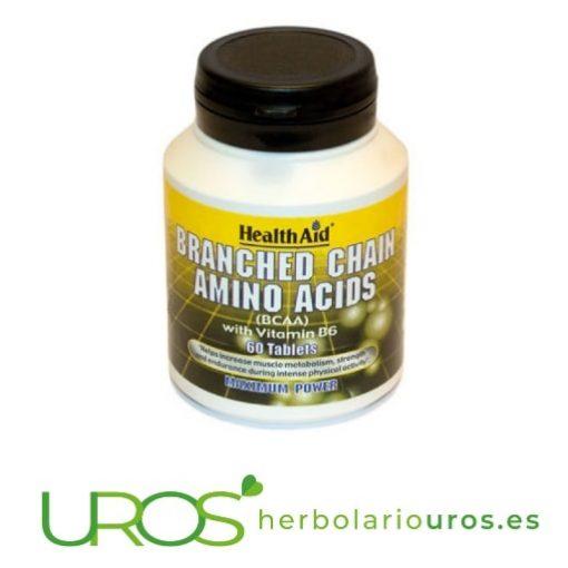 BCAA - aminoácidos ramificados en cápsulas de Health Aid - para tu mejor rendimiento deportivo y mayor resistencia física BCAA - aminoácidos ramificados de lab. naturales Health Aid - suplemento natural para deportistas y para mejor rendimiento Suplemento natural en comprimidos a base de aminoácidos ramificados: L-leucina,L-Isoleucina,L-Valina y la vitamina B6 de Health Aid