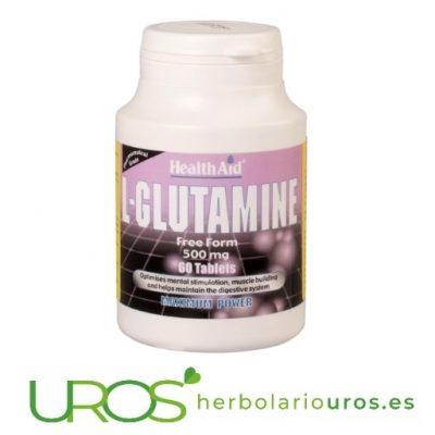 L-Glutamina Health Aid: una musculatura sana y fuerte L-glutamina HealthAid - todos los beneficios de la glutamina pura Para una musculatura sana de modo natural y una ayuda para tu memoria y también una ayuda para recuperación del sistema digestivo