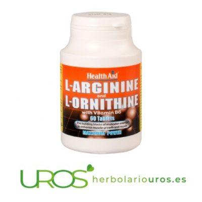 L-Arginina y L-Ornitina en cápsulas de Health Aid L-Arginina y L-Ornitina 600 mg / 300 mg HealthAid - una ayuda muscular Un suplemento natural de Arginina, Ornitina y Vitamina B6 de lab. naturales Health Aid