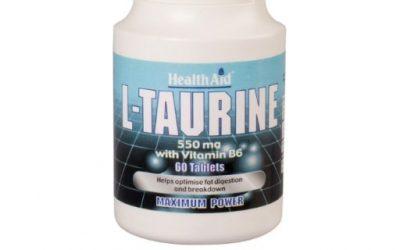 L-Taurina de Health Aid: tu colesterol en niveles saludables L-Taurina de laboratorios naturales Health Aid Colesterol en niveles saludables, mejor digestión de las grasas y una tensión arterial en niveles saludables - y también beneficia tusistema cardiovascular - envase para un mes