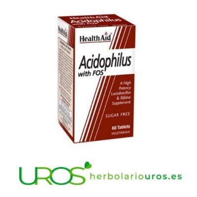 Acidophilus con FOS de Health Aid Acidophilus con FOS (prebióticos) deHealth Aid Acidophilus con fructo-oligosacáridos (prebióticos) - una ayuda natural para tu digestión