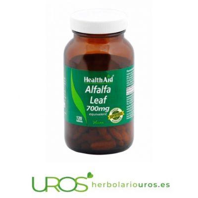 Hojas de Alfalfa de HealthAid - comprimidos de alfalfa pura Comprimidos de alfalfa de HealthAid en suplemento natural Hojas de Alfalfa de lab. Health Aid en envase grande de 120 comprimidos