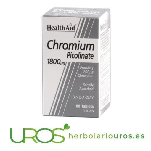 Picolinato de cromo en comprimidos: Propiedades y beneficios Un suplemento natural que aporta cromo para un mejor control de apetito y regular los niveles de glucosa en la sangre - picolinato de HealthAid