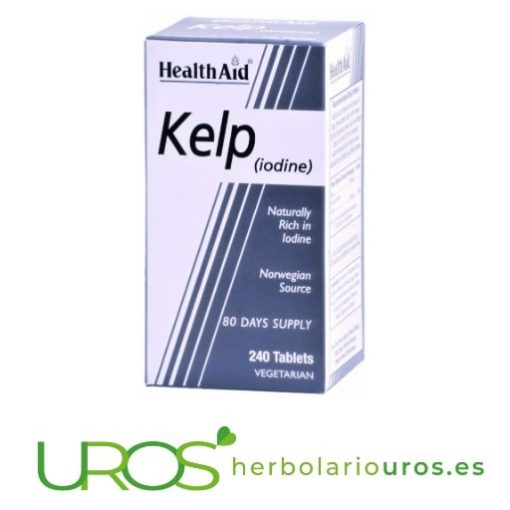 Kelp puro de lab. naturales Health Aid Kelp de Health Aid: Alga marina con yodo elemental - tu fuente de energía Complemento alimentario natural de HealthAid a base de kelp, muy rico en yodo