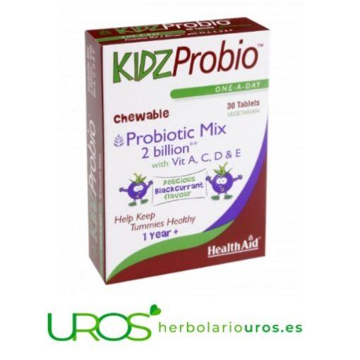 KidzProbio de Health Aid - Probiótico masticable para niños Comprimidos masticables para menores Probióticos con vitaminas masticables para niños - KidzProbio Health Aid Comprimidos masticables para niños - Probióticos con Vitaminas para los más pequeños