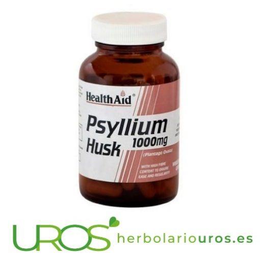 Psyllium Husk de Health Aid - Plantago Ovataen cápsulas Psyllium puro en cápsulas de Health Aid - plántago ovata en cápsulas Un suplemento para mejorar tu digestión naturalmente - fibra pura de la cáscara de la planta de Psyllium (Plantago Ovata)