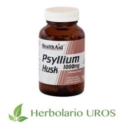 Psyllium Husk HealthAid Plantago Ovata en cápsulas Plantago ovata suplemento natural Psyllium en cápsulas