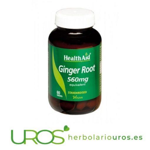 Jengibre puro en cápsulas de Health Aid - mejora tu digestión Jengibre de HealthAid en comprimidos con todas sus propiedades Un remedio natural para tu digestión, antiinflamatorio natural y antioxidante