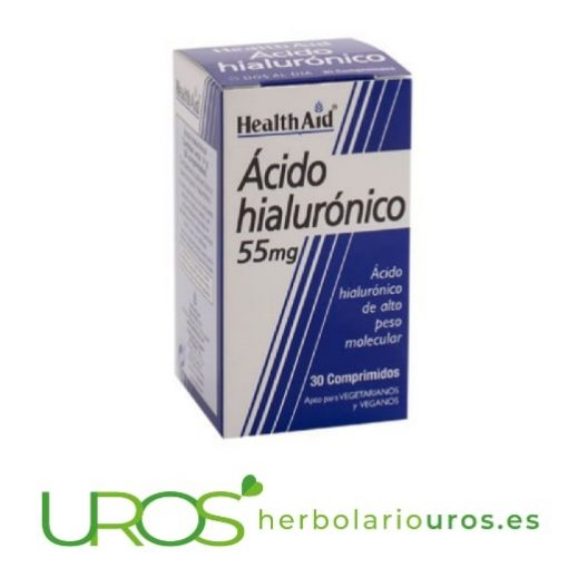 Ácido hialurónico en comprimidos de Health Aid - ayuda natural para tu piel Un suplemento natural de laboratorios HealthAid: tu piel joven y tersa Un complemento natural para tu salud articular y para tu piel sin arrugas de Health Aid