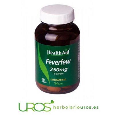 Matricaria de HealthAid: Propiedades y beneficios Matricaria en cápsulas como alivio natural de dolores de cabeza y con propiedades antiinflamatorias Las cápsulas de matricaria (Feverfew HealthAid) son un un suplemento natural con propiedades analgésicas y antiinflamatorias