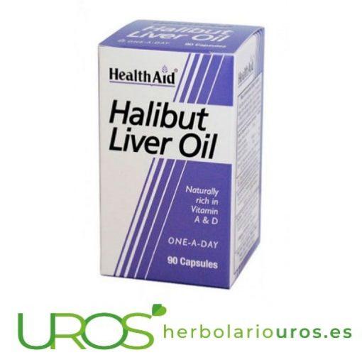 Aceite de hígado de Halibut de lab. naturales Health Aid Todas las propiedades de aceite de Halibut en cápsulas Aceite de hígado de Fletán (Halibut) en cápsulas de lab. Health Aid