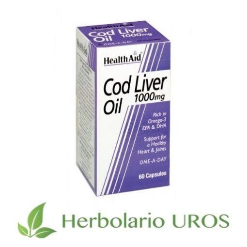 Aceite de hígado de bacalao en cápsulas de HealthAid.