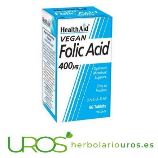 Ácido Fólico de Health Aid: 400 ng por pastilla (90 pastillas) Ácido Fólico en pastillas de lab. naturales HealthAid En casos de fatiga, cansacio, para tu sistema inmune y en el embarazo - propiedades de la Vitamina B9 en pastillas de Health Aid
