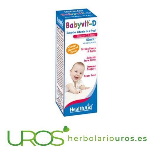 Babyvit-D gotas: Vitamina D en niños - desarrollo de huesos en los niños lab. Health Aid Babyvit-D gotas - Vitamina D en niños de Health Aid Importancia de la vitamina D para niños y su correcto crecimiento y desarrollo de huesos