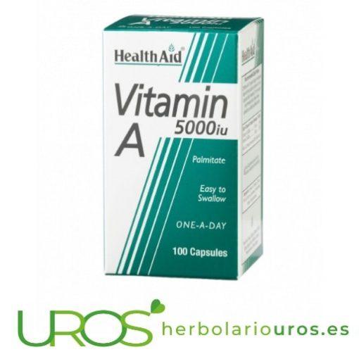 La vitamina A pura en cápsulas para tu salud: 5.000 UI Vitamina A en dosis alta en cápsulas: Vitamina A para tu pelo y la piel Las propiedades y los beneficios de la Vitamina A de Health Aid para el pelo y la piel