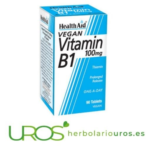 Vitamina B1 - Tiamina en comprimidos de Health Aid Pastillas de Vitamina B1 de Health Aid: Propieades - más energía, mejor respiración celular y mejor metabolismo de carbohidratos Vitamina B1 en pastillas de laboratorios Health Aid: ¿Vitamina B1 para qué sirve? Descubre los beneficios de esta vitamina en comprimidos para tu salud - apto para veganos