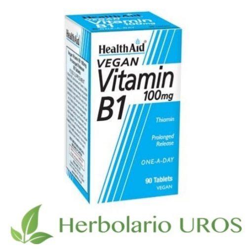 Vitamina B1 en pastillas de HealthAid - todas las propiedades - vegana