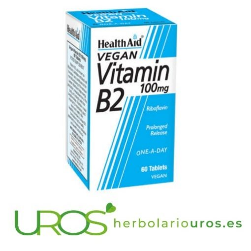 Vitamina B2 en pastillas - Riboflavina pura de Health Aid La insuficiencia de Vitamina B2 en alimentos puede causar su deficiencia Complemento en comprimidos a base de vitamina B2 (riboflavina) de lab. naturales Health Aid - ¿Para qué sirve?