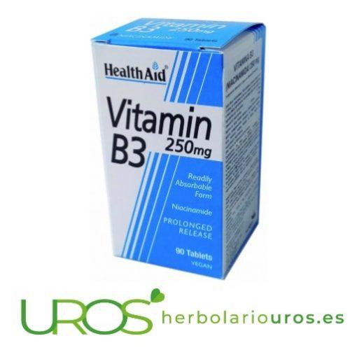 Vitamina B3 de Health Aid en pastillas con sus propiedades Vitamina B3 de Health Aid en comprimidos para disminuir tu cansacio Una vitamina esencial para tu salud y muy indicada para los deportistas y en casos de fatiga prolongada - un comprimido al día para tres meses