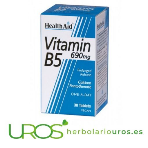 Vitamina B5 en pastillas de Health Aid y sus propiedades y beneficios La Vitamina B5 en comprimidos - para prevenir su déficit Beneficios de los comprimidos de la Vitamina B5 en comprimidos de laboratorios naturales Health Aid - ¿Para qué sirve?