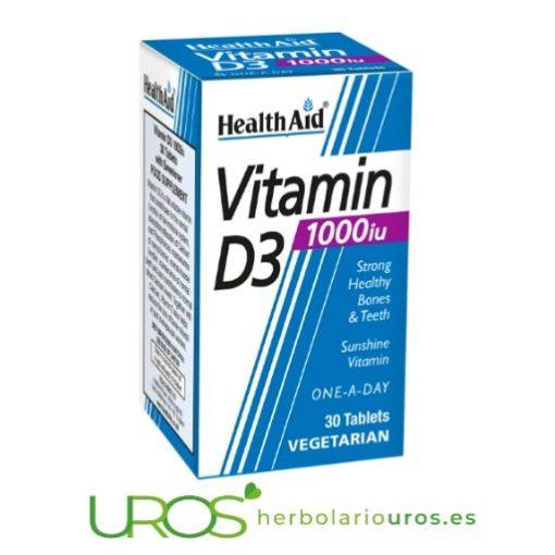 Pastillas de Vitamina D3 1.000 UI La falta de la Vitamina D en alimentos puede ocasionar su déficit Comprimidos de Vitamina D3 de laboratorios Health Aid como su fuente natural