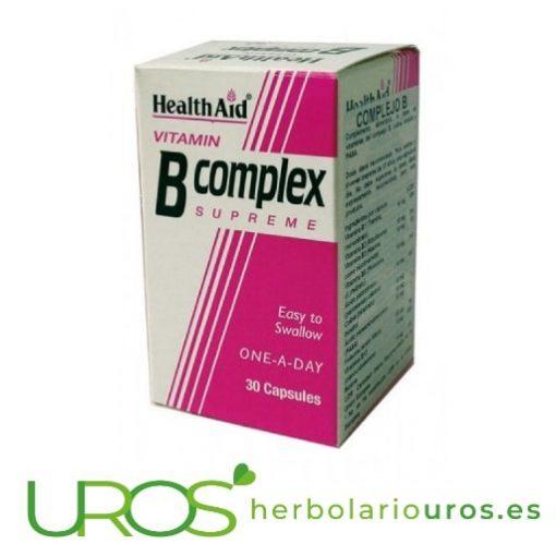 Complejo B suplemento de vitaminas del grupo B de HealthAid Todas las vitaminas del grupo B en cápsulas - Complejo B HealthAid B-Complex de Health Aid: Vitaminas en cápsulas para un mes