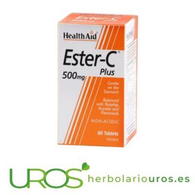 Ester-C de Health Aid - pastillas de vitamina C - 500 mg Ester-C: Vitamina C en pastillas para mejorar tu sistema inmune Un suplemento en casos de gripe, resfriado y aumentar la absorción del colágeno