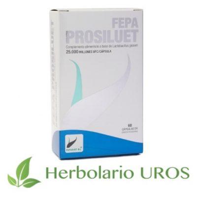 Fepa Prosiluet - cápsulas de probiótico Lactobacilus gasseri - para tu digestión, flora intestinal y como adelgazante natural.