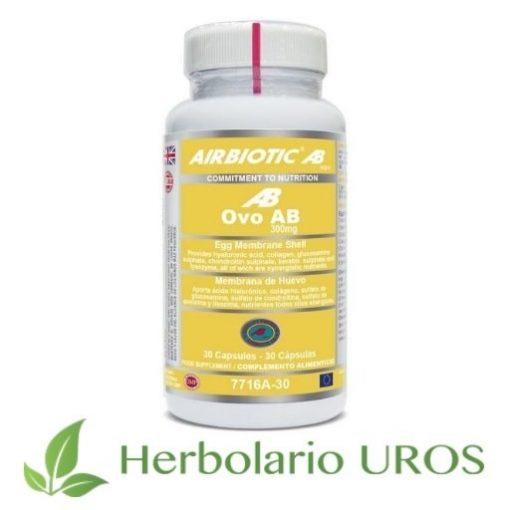 Ovo AB Airbiotic (Ovomet) - remedio para tus articulaciones Ovo AB en cápsulas de Airbiotic - remedio natural para tus articulaciones Colágeno puro, glucosamina, condroitina y ácido hialurónico son algunos de los ingredientes de este suplemento natural articular