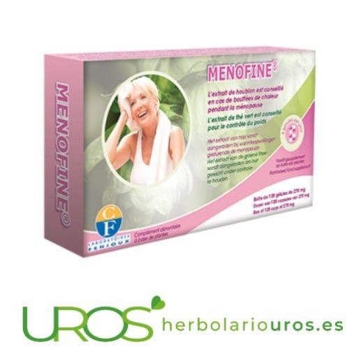 MenoFine de laboratorios naturales Fenioux: Remedio para las mujeres en menopausia MenoFine de Fenioux ayuda natural para los síntomas de la menopausia Suplemento que te ayuda en caso de sofocos, sudores, sequedad y aumento de peso debido a los problemas propios de la menopausia