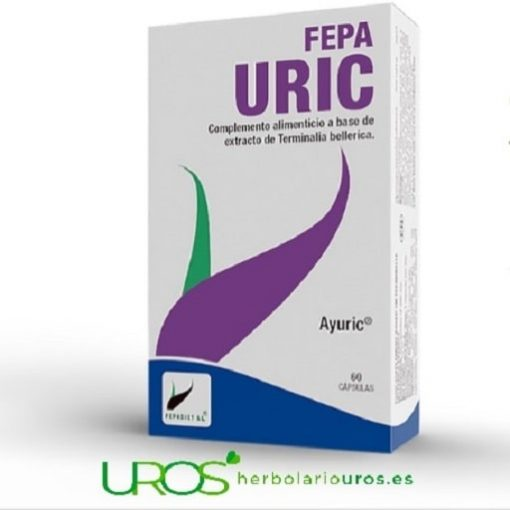 Fepa Uric - suplemento natural que te ayuda en casos de padecer de ácido úrico alto Complemento de Fepa Uric - tu aliado natural en casos de Hiperuricemia - es decir un remedio en casos de ácido úrico elevado Fepa-Uric está preparado a base de extracto de la planta Terminalia bellirica
