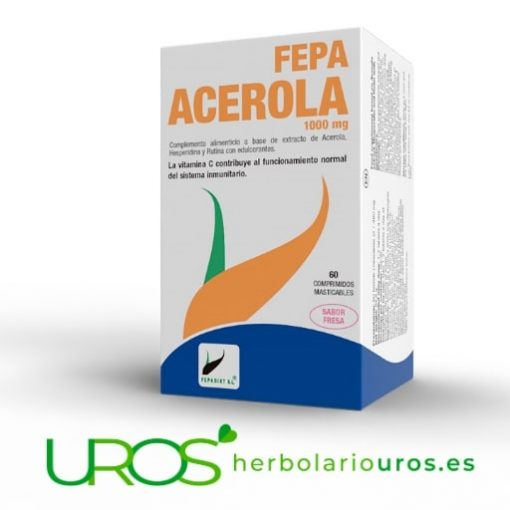 Fepa Acerola - 60 comprimidos de vitamina C para dos meses Acerola pura en comprimidos - tu aporte de vitamina C Para tus defensas y sistema inmune y también para una mejor absorción del hierro y tu mejor asimilación del colágeno