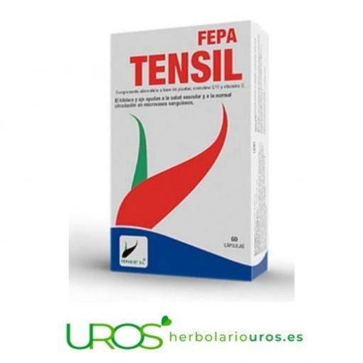 Fepa Tensil - suplemento natural para controlar tu hipertensión Fepa Tensil - remedio natural que mejora tu salud vascular y tu microcirculación por los ingredientes que te aporta Complemento alimenticio Fepa Tensil te ayuda, por sus ingredientes, en aportarte energía, mejor ciruclación y en los casos tensión alta. Tu envase grande para un mes.